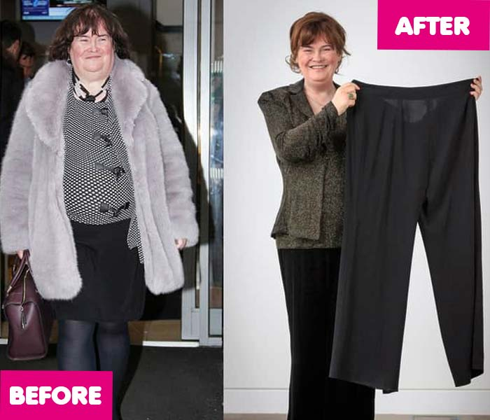 Susan Boyle weight loss, then and now, 2017, 2018, celebrity transformation, before and after, fat thin
